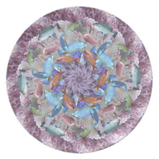 Kaleidoscopic Seascape in Bright Pastels Dinner Plate