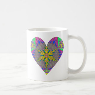 Kaleidoscopic Snowflake Heart Mug