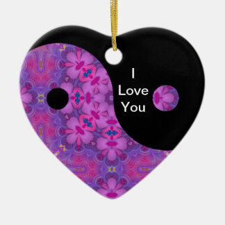 Kaleidoscopic Yin Yang Heart Ornament.1 Ceramic Ornament