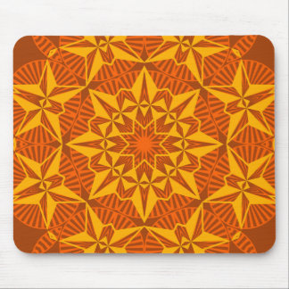 Kaleidscope Star, Bright Yellow Gold Orange Brown Mouse Pad