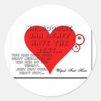 kalgoorlie bar mat joke. classic round sticker