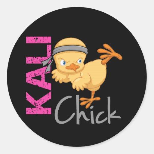 Kali Chick Round Stickers