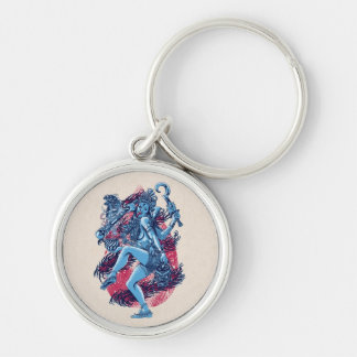 Kali Silver-Colored Round Keychain