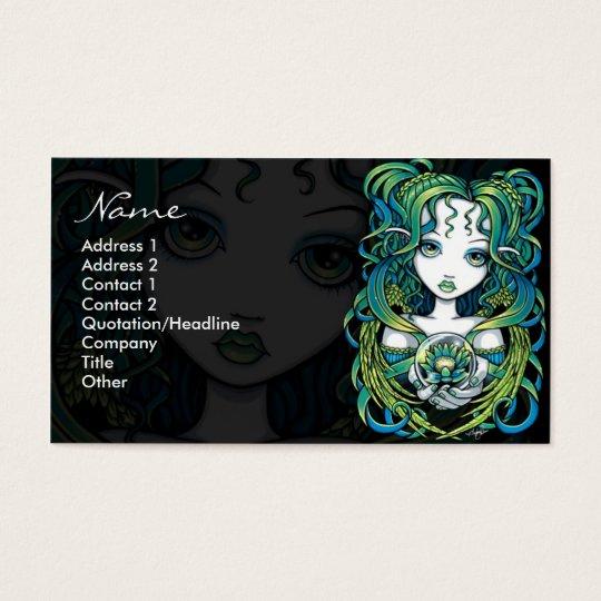 """""""Kallan"""" Green Lotus Water Angel Business Cards"""