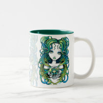 kallan, green, blue, lotus, flower, angel, gothic, crystal, ball, magic, fairy, faerie, fae, fairies, faery, fantasy, art, myka, jelina, water, angels, Mug with custom graphic design
