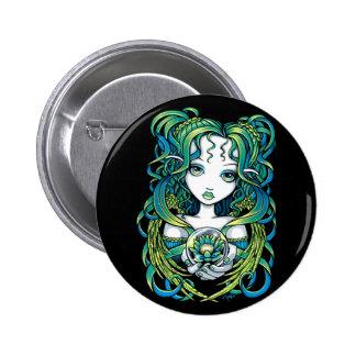 """""""Kallan"""" Green Lotus Water Angel Pinback Button"""