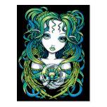 """""""Kallan"""" Green Lotus Water Angel Postcard"""
