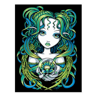 """Kallan"" Green Lotus Water Angel Postcard"