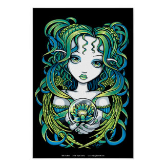 """Kallan"" Green Lotus Water Angel Poster"