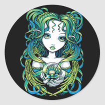kallan, green, blue, lotus, flower, angel, gothic, crystal, ball, magic, fairy, faerie, fae, fairies, faery, fantasy, art, myka, jelina, water, angels, Sticker with custom graphic design