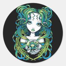 kallan, green, blue, lotus, flower, angel, gothic, crystal, ball, magic, fairy, faerie, fae, fairies, faery, fantasy, art, myka, jelina, water, angels, Sticker with custom graphic design