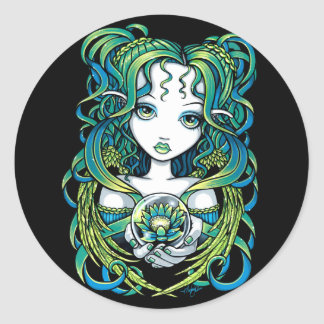Kallan Green Lotus Water Angel Sticker