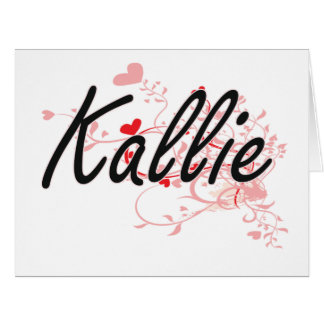 Kallie Artistic Name Design with Hearts Large Greeting Card