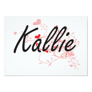 Kallie Artistic Name Design with Hearts 5x7 Paper Invitation Card