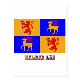 Kalmar län flag with name postcard