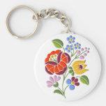 Kalocsa Embroidery - Hungarian Folk Art Basic Round Button Keychain