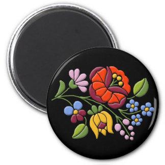 Kalocsa Embroidery - Hungarian Folk Art black bg. 2 Inch Round Magnet