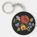 Kalocsa Embroidery - Hungarian Folk Art black bg. Basic Round Button Keychain