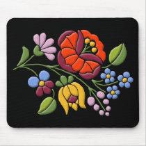 Kalocsa Embroidery - Hungarian Folk Art black bg. Mouse Pad