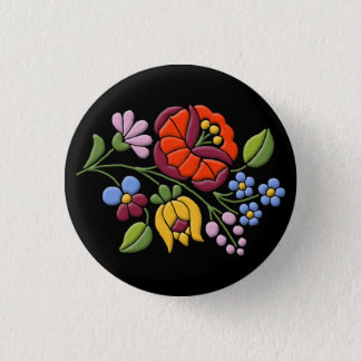 Kalocsa Embroidery - Hungarian Folk Art black bg. Pinback Button