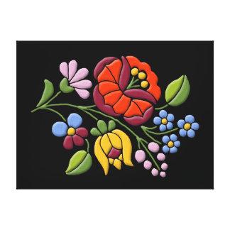 Kalocsa Embroidery - Hungarian Folk Art Canvas Print
