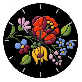 Kalocsa Embroidery - Hungarian Folk Art Large Clock