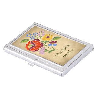 Kalocsa Embroidery - Hungarian Folk Art motif Business Card Holder