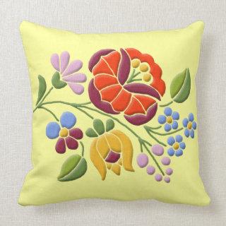 Kalocsa Embroidery - Hungarian Folk Art Throw Pillows