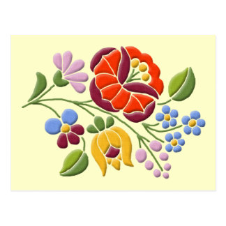 Kalocsa Embroidery - Hungarian Folk Art Post Card