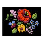 Kalocsa Embroidery - Hungarian Folk Art Postcard