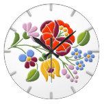 Kalocsa Embroidery - Hungarian Folk Art Wall Clock