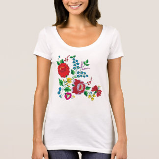 Kalocsa Embroidery Poly-Cotton Scoop Neck T-Shirt