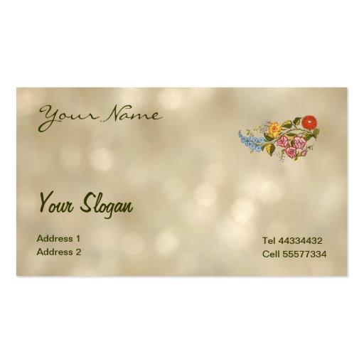 kalocsai floral motifs in light bokeh business card