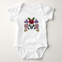 Kalocsai floral pattern baby bodysuit
