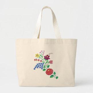 Kalocsai Flower Stem Large Tote Bag
