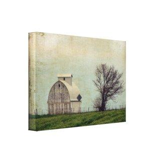 Kalona Iowa Fields and Barn With Tree Canvas Print