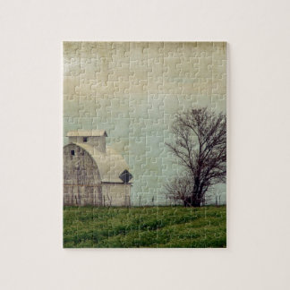 Kalona Iowa Fields and Barn With Tree Jigsaw Puzzle