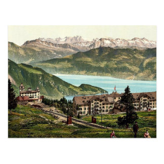 Kaltbad and the Alps, Rigi, Switzerland vintage Ph Postcard