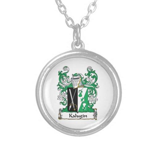 Kalugin Family Crest Round Pendant Necklace