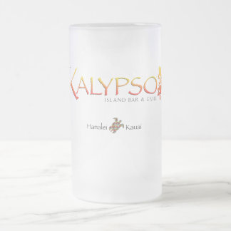 Kalypso Colorful Logo With Rainbow Sea Turtle Frosted Glass Beer Mug