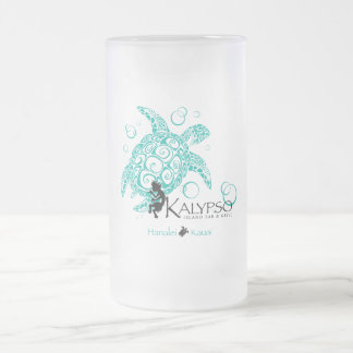 Kalypso Sea Turtle Frosted Glass Beer Mug