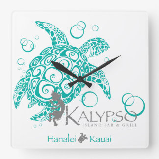 Kalypso Sea Turtle Square Wall Clock