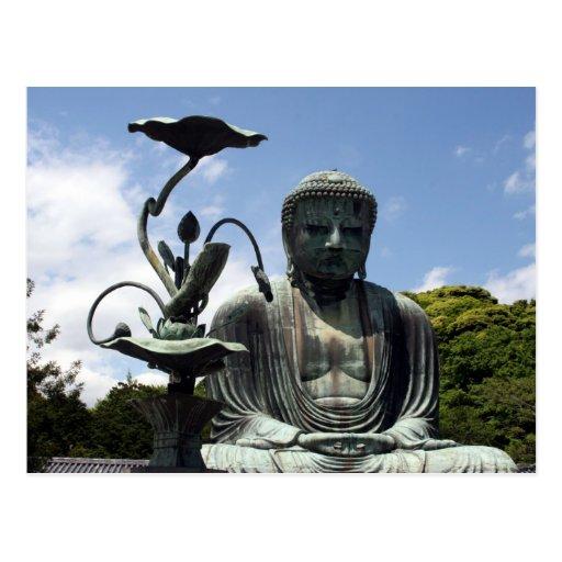 kamakura buddha flower postcard