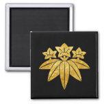 Kamakura Minamoto Mon Japanese clan gold on black 2 Inch Square Magnet