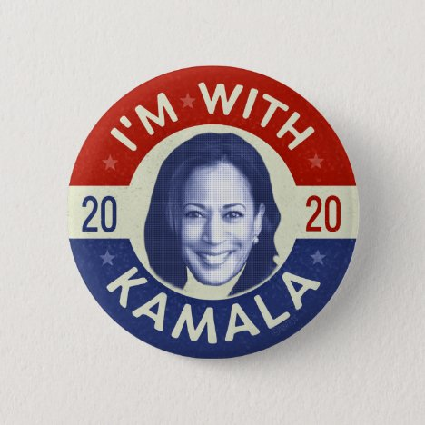Kamala Harris President 2020 Democrat Photo Retro Button