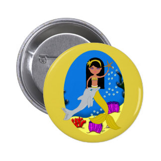 Kamaria the Golden Mermaid and Dolphin Button