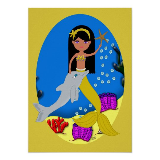 Kamaria the Golden Mermaid and Dolphin Poster