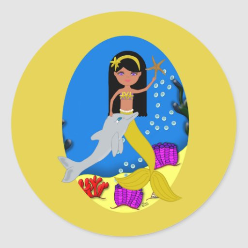 Kamaria the Golden Mermaid and Dolphin Sticker