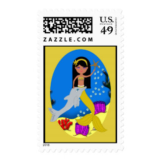 Kamaria the Mermaid and Dolphin Postage