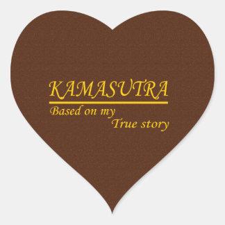 Kamasutra basó en mi historia verdadera pegatina en forma de corazón